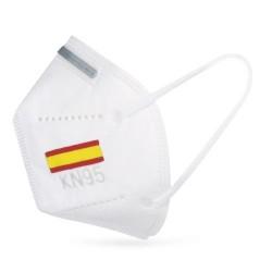Mascarilla bandera de España blanca con protección KN95 vista perfil