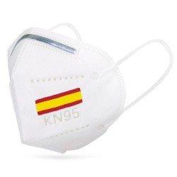 Mascarilla KN95 bandera de España blanca